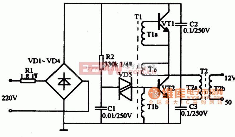 50w电子镇流器电路