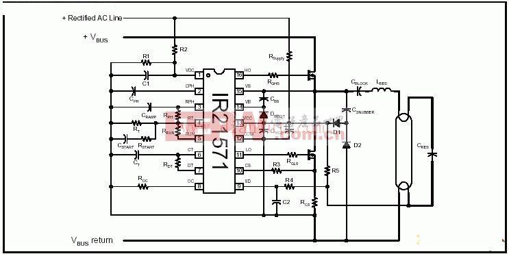 R21571直管型集成电路电子镇流器电路
