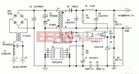4W开关型直流稳压电源电路图片