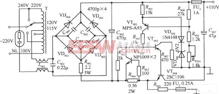 性能稳定的110V稳压电源电路