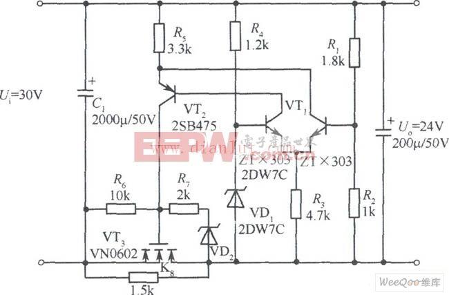 基于一款24V VMOS管稳压电源电路