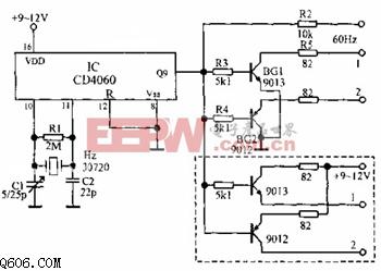 时基/数字钟标准60HZ时基电路如下图所示,CD4060是14位二进制串行...