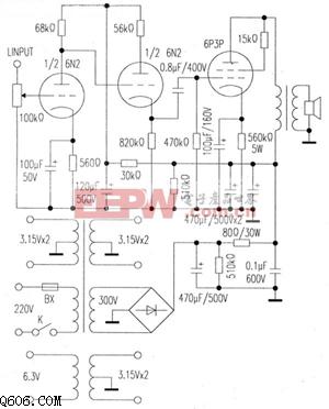 N2 6P3P单端胆机电路图图片