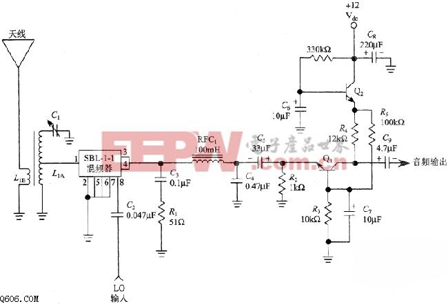 音频/一级音频的直接变频接收机混频器电路图