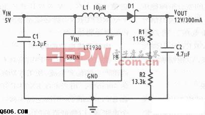5V转12V升压变换器电路图