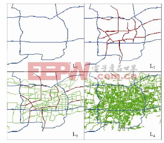 图2 某城市公路网不同层次显示效果图