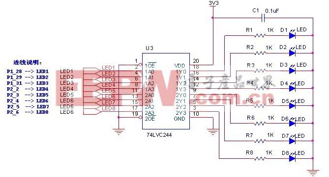 图1 LED指示电路