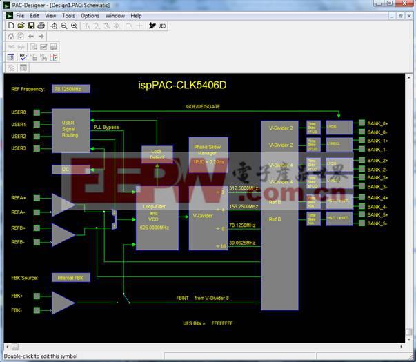 图2:PAC-Designer 5.2中显示的莱迪思ispClock5406D框图。