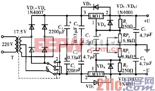 两用可变直流稳压电源制作电路图片