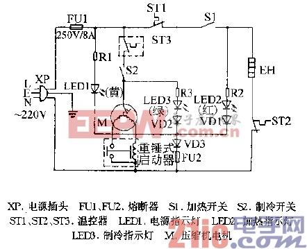 天健HC-6T1,HC-5T1冷热饮水机电路图.gif
