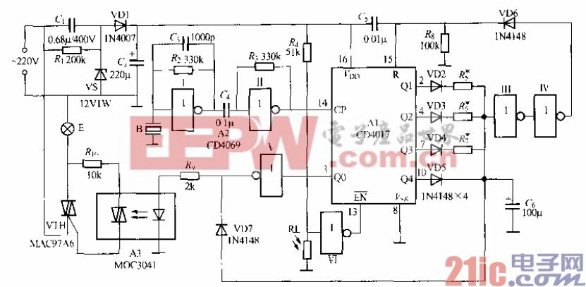 三层楼梯双控灯电路图-是一个采用C D1017、CD4069及晶闸管划光耦合器等组成的声、光控  图片