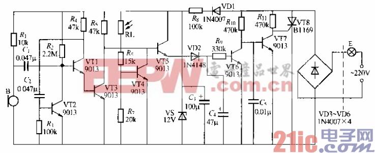 160.分立元件声光控楼梯延迟开关电路(10).gif