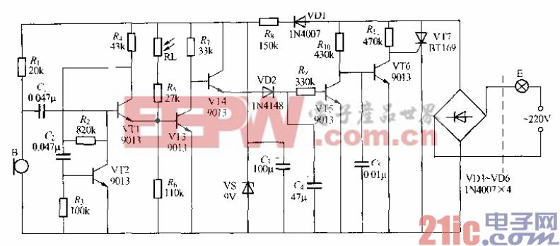 159.分立元件声光控楼梯延迟开关电路(9).gif