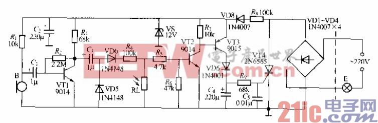 是一个改进r的声、光控楼梯走道延迟照明灯开关电路,该电路除具备 I述两电路所有特点外,E的声控灵敏度较高,这是因为VT1输出音频信号经 VD5、VD6倍压帖流后,将其变成直流拧制电{去触发VT2、VT3甘通,从】m使 VT1开通,电灯F电亮发光。电路延迟时问仍由R。与(1,数值决定,通常为数十 秒钟。电容(1。町吸收lB刚十扰脉冲,町防止电路误触发。 本电路使用时,如发现灯丌启后小能完拿熄灭,叮在R,F端并联一个470pF 电容,即可排除。如果电蹄出现间隙振荡,可将R,阻值适当减小便可解决.此阿 方