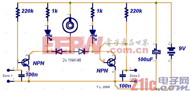 微型回路报警电路图设计