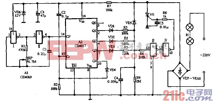 30.用CD4069、CD4017制作新颖彩灯闪烁控制器.gif