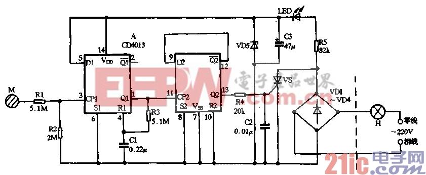 24.用CD4013制作单键触摸式灯开关.gif