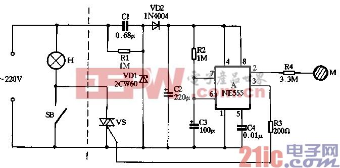 制作 触摸/用NE555制作的触摸自熄台灯电路见图3/8所示,图中虚线左部是...