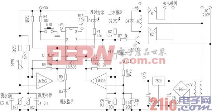 用PIC12C508制作太阳能热水自动控制器电路图
