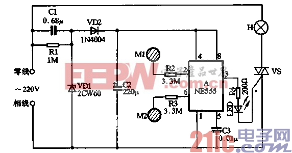 用NE555制作的双键触摸式灯开关的电路见图3-2所示,电路由触摸电图片