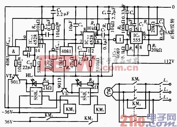 28.三相异步电动机正反转手控电路.gif