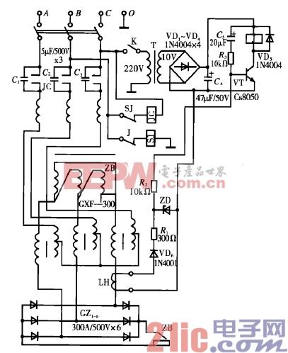 直流电焊机空载自动断电电路图片