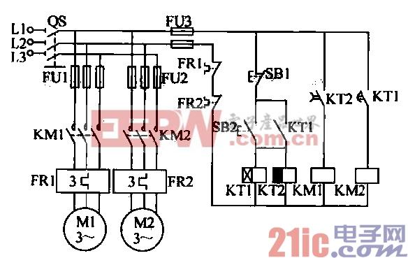 自动切换的两台电动机按顺序起动 逆序停止电路图片