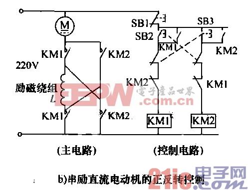 直流电动机的正反转控制电路b图片