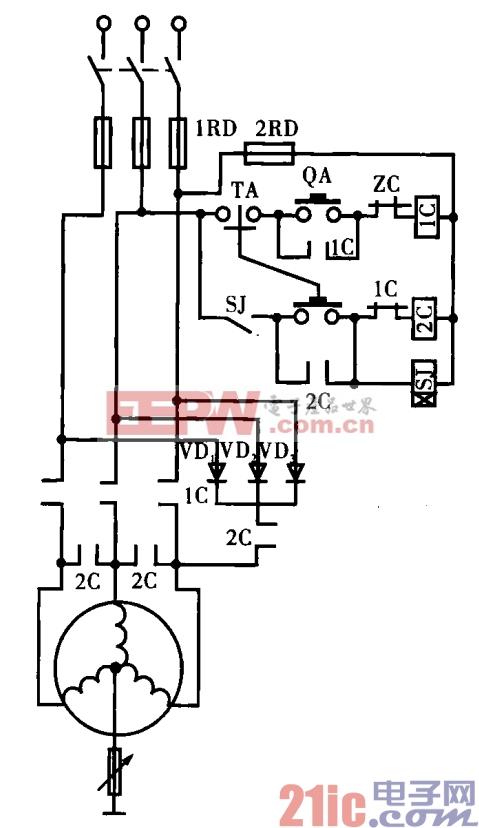 10.电动机三相半整流能耗制动电路.gif