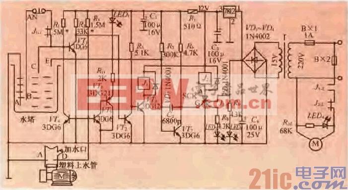 水塔(箱)自动泵水控制电路电路