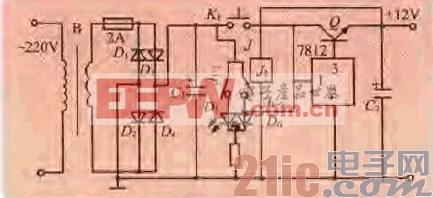 款带过流保护的12V稳压电源电路图片
