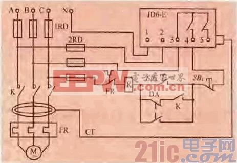 19.一款用漏电继电器的电机保护电路.gif