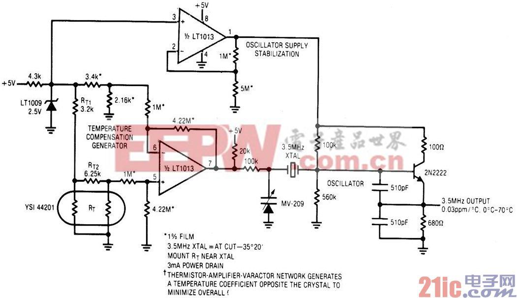 低功率5V驱动的温度补偿晶体振荡器电路.jpg