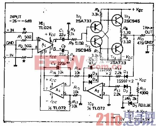 具有50MHz-3dB宽带、20dB压缩特性的宽带ALC放大器