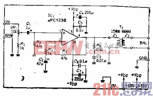 输出大于20dBm的600Ω平衡驱动前置放大器