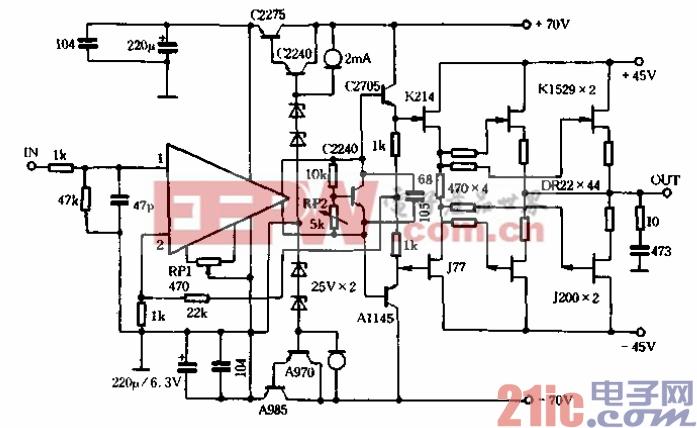 自制功放的原理图.后级电路与普通电路没有什么不同,只不过K214/J