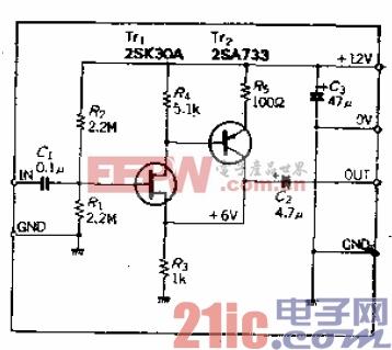 FET输入、输入阻抗为1MΩ的AC阻抗变换器