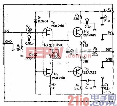 输入阻抗1MΩ、输出阻抗50Ω变换电路