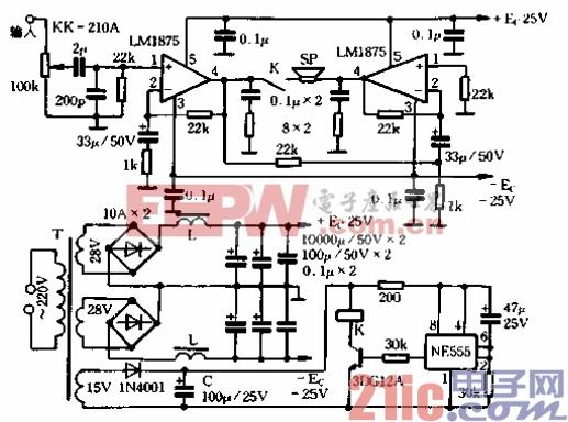 消防功率放大器电路图-自制的集成电路功放图片