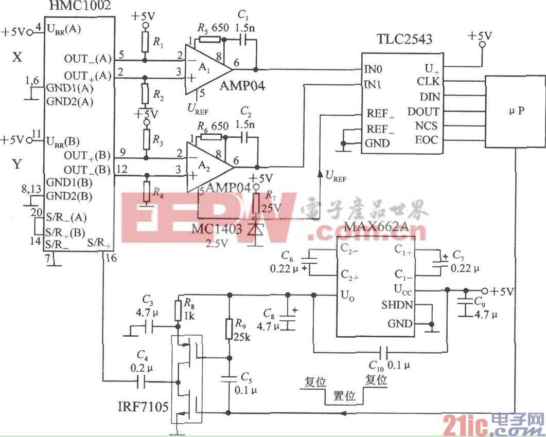 HMC1002双轴磁场传感器应用电路图
