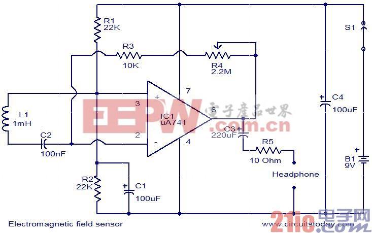 电磁场传感器电路图