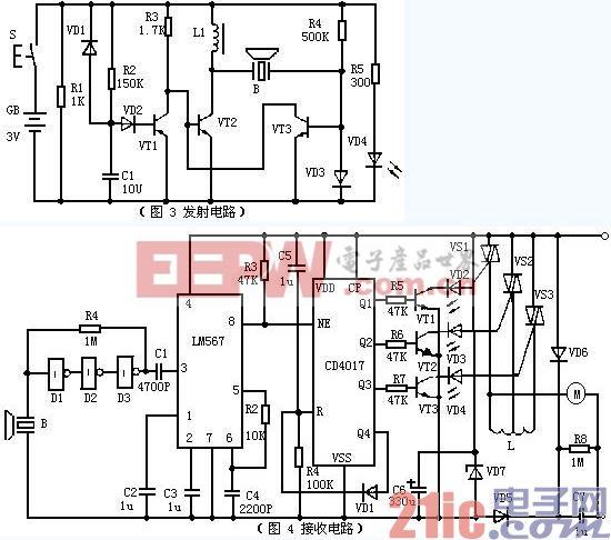 超声波遥控电扇变速器电路图