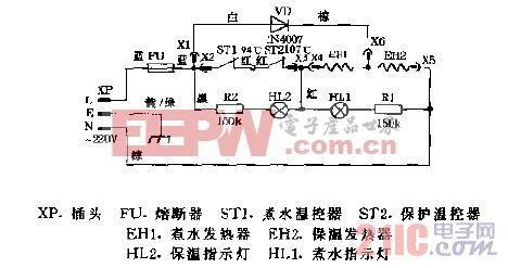 华宝DYP22A,DYP30A电子热水瓶电路图.gif