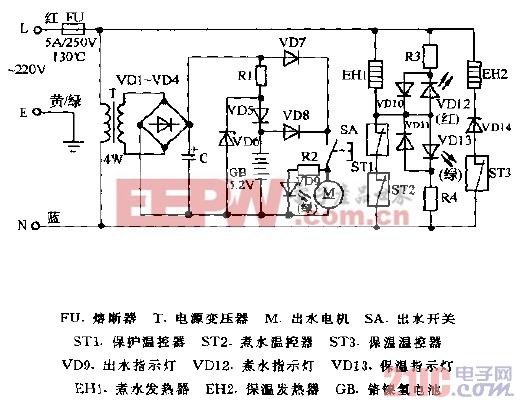 贡宝牌DFP-28AF,DFP-36AF,DFP-46AF电子热水瓶电路图.gif