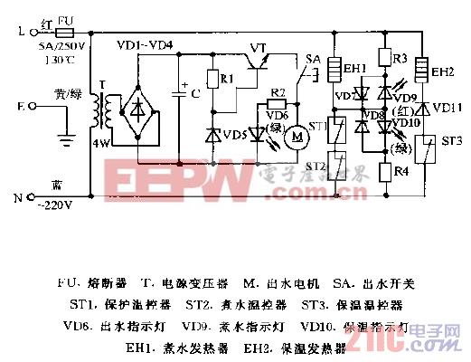 贡宝牌DFP-28A1F,DFP-36A1F,DFP-46A1F电子热水瓶电路图.gif