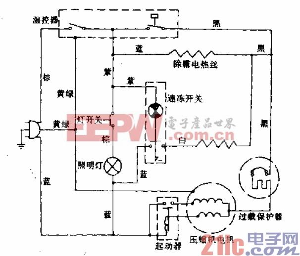 雪花牌BCD-251型电冰箱电路.gif
