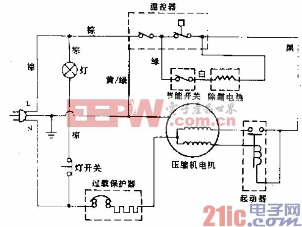 雪花牌BCD-191型电冰箱电路.gif