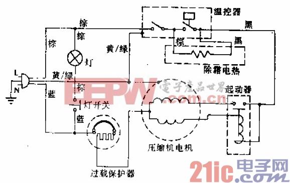 雪花牌BCD-170B型电冰箱电路.gif