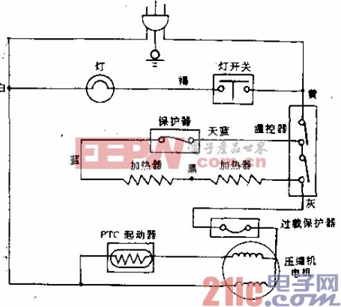 三洋牌SR124型电冰箱电路.gif