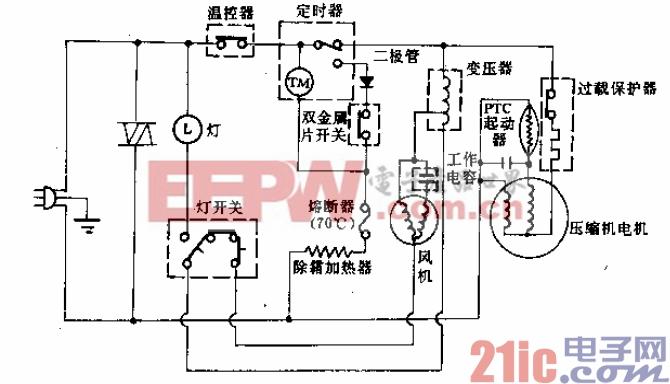 三菱牌MRE-2163W、2163WN、MRE-2163G、2163GN型电冰箱电路.gif